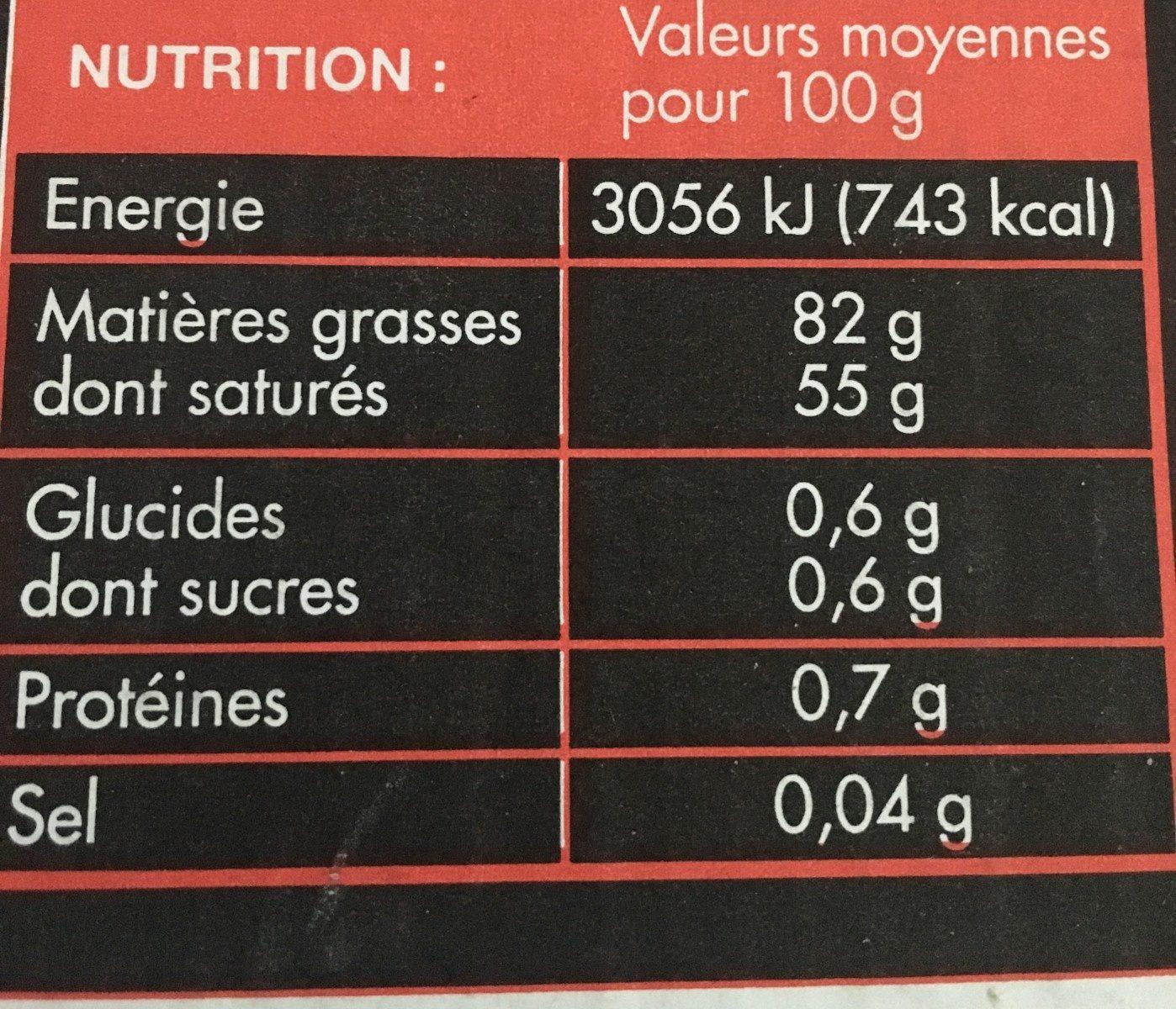 Beurre Doux - Valori nutrizionali - fr