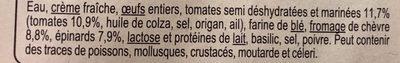 Clafoutis tomate chevre epinards - Ingrédients