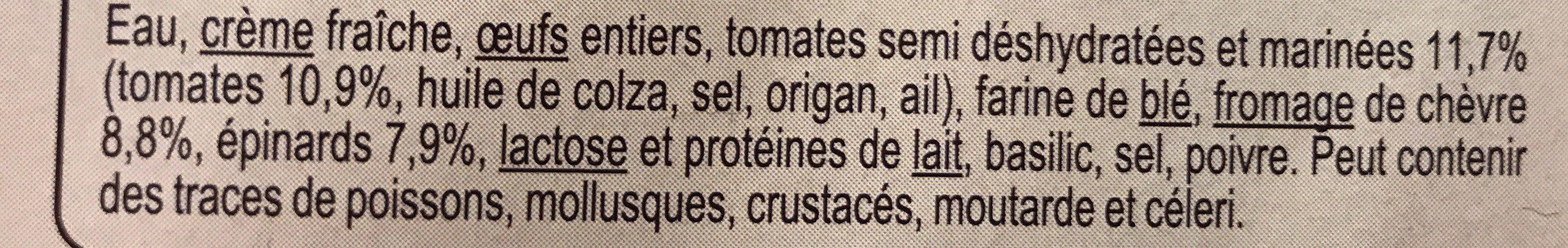 Clafoutis tomate chevre epinards - Ingrédients - fr