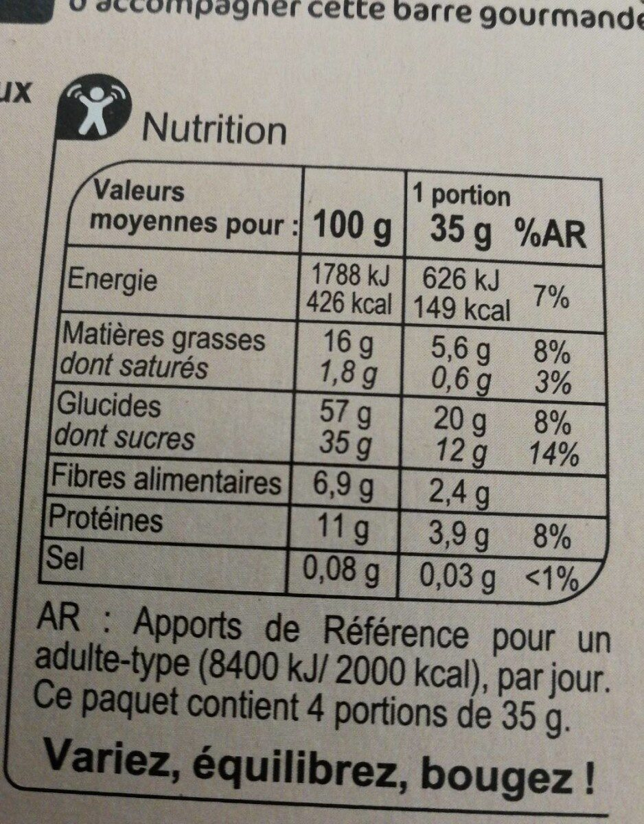 Barre gourmande canneberge - Valori nutrizionali - fr