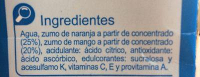 Bebida naranja mango - Ingredientes