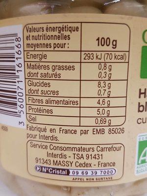 Haricots blancs cuisinés - Valori nutrizionali - fr