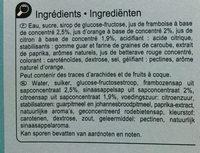 Ice jets - saveurs citron, orange et framboise - Ingrédients