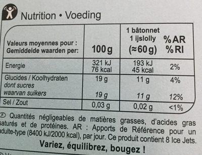 Ice jets - saveurs citron, orange et framboise - Informations nutritionnelles