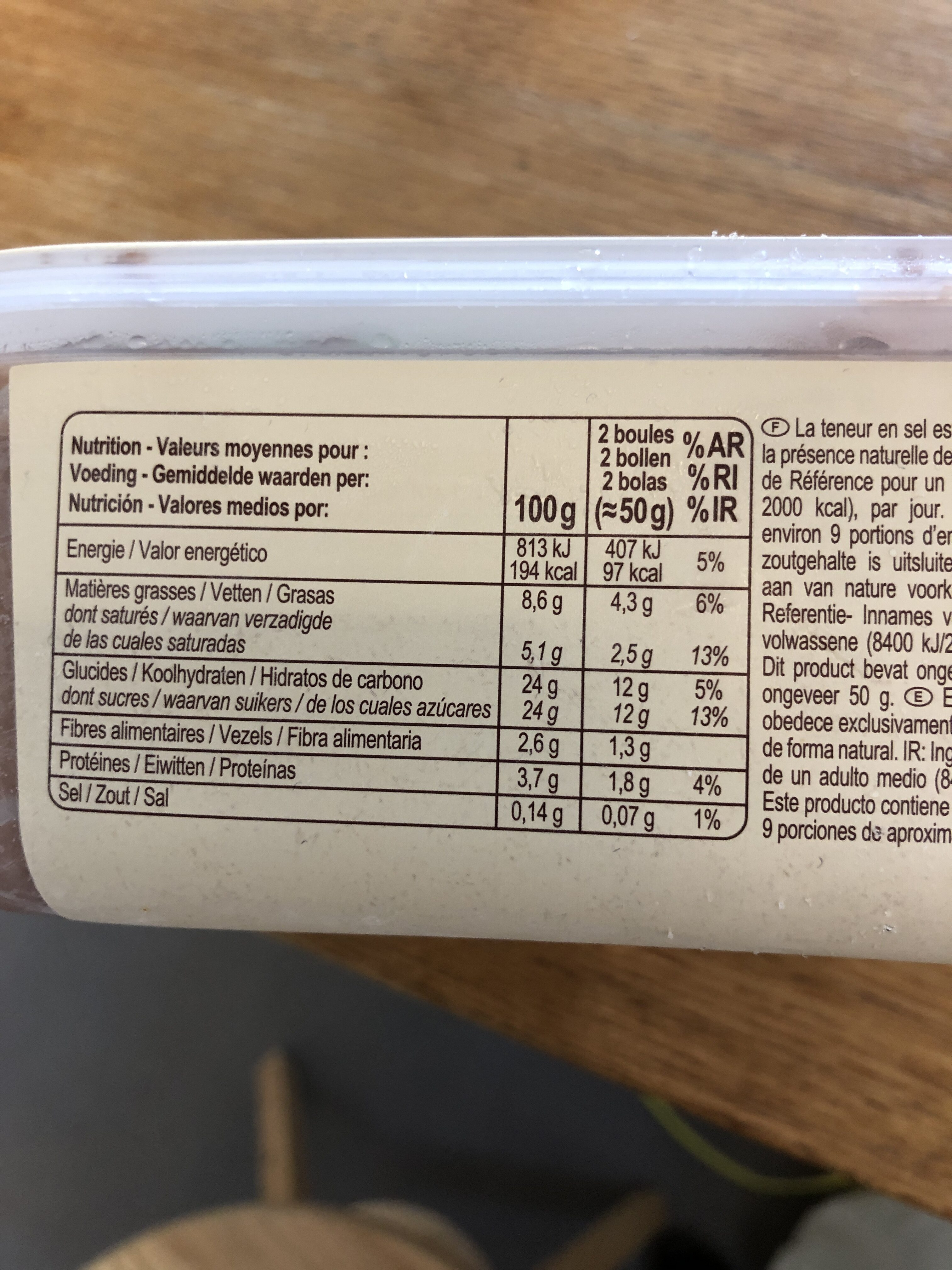 Crème glacée au chocolat - Informació nutricional - fr