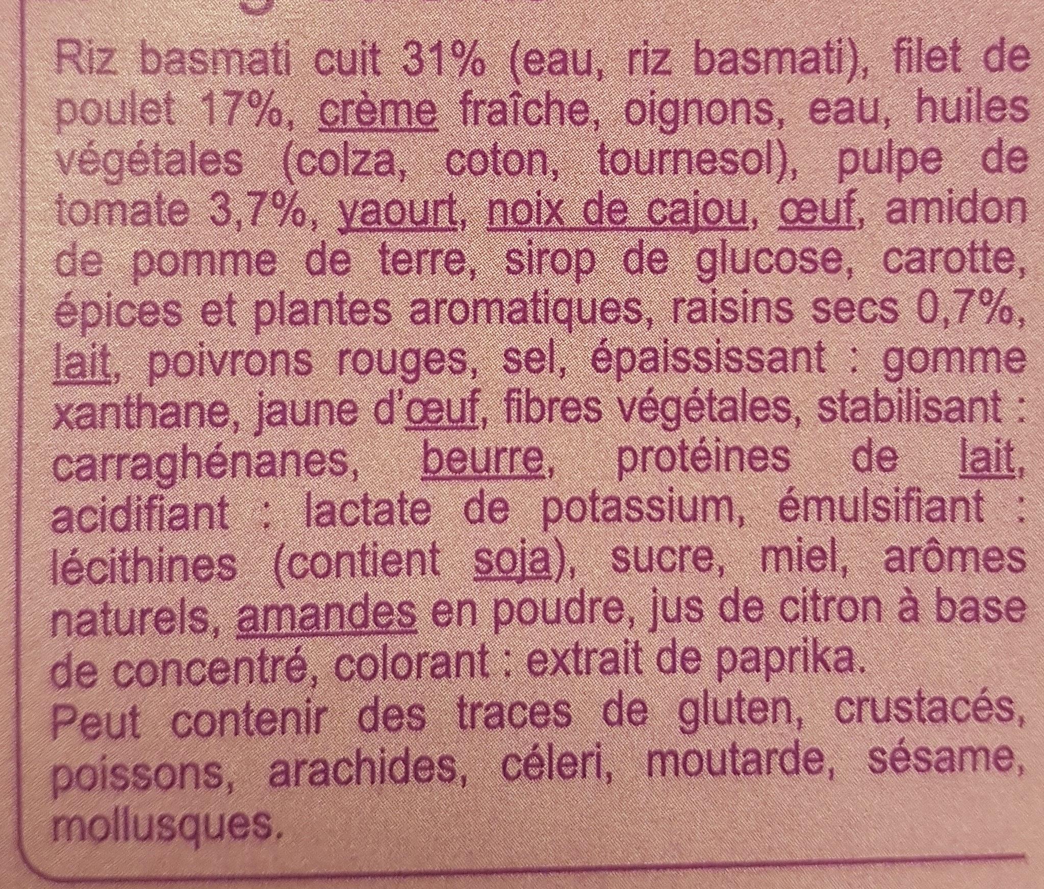 Poulet tikka massala et son riz basmati - Ingrédients - fr