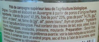 Pâté de campagne supérieur BIO - Ingredients - fr