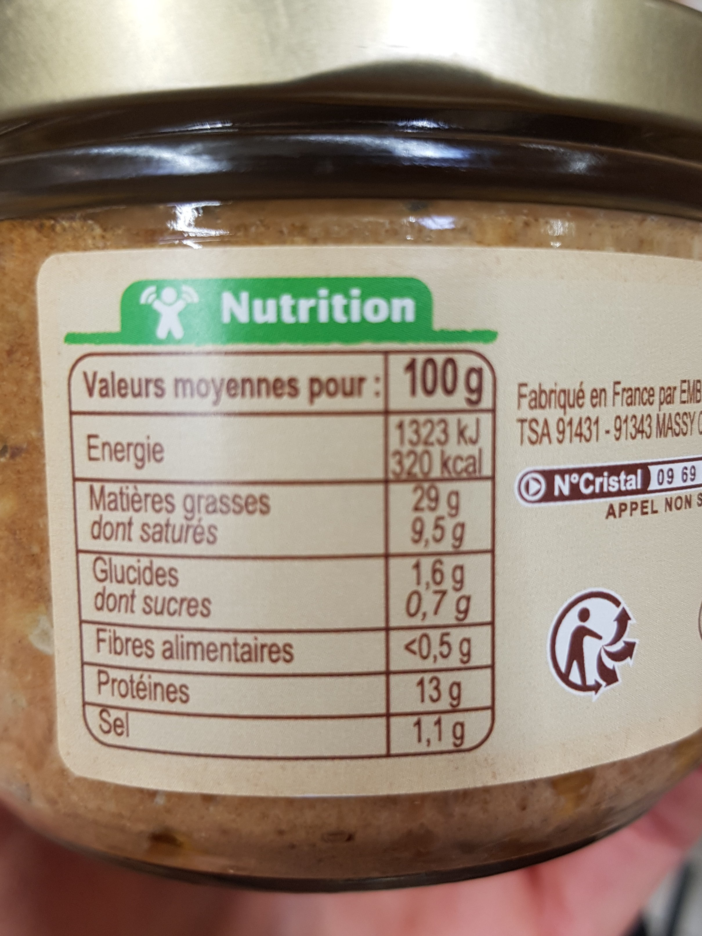 Pâté de campagne supérieur BIO - Nutrition facts - fr