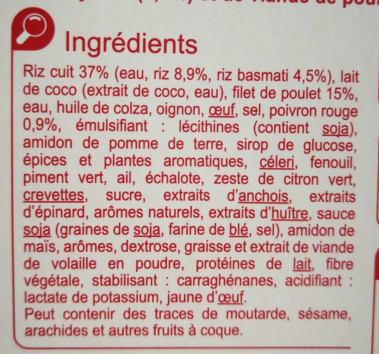 Poulet curry vert et duo de riz - Ingredients - fr