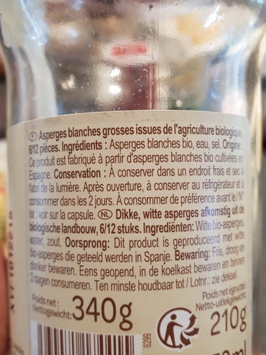 Asperge blanches bio - Ingredients - fr