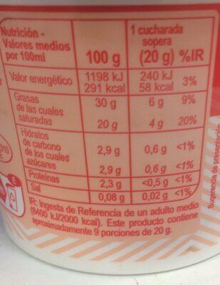 Nata ácida - Información nutricional