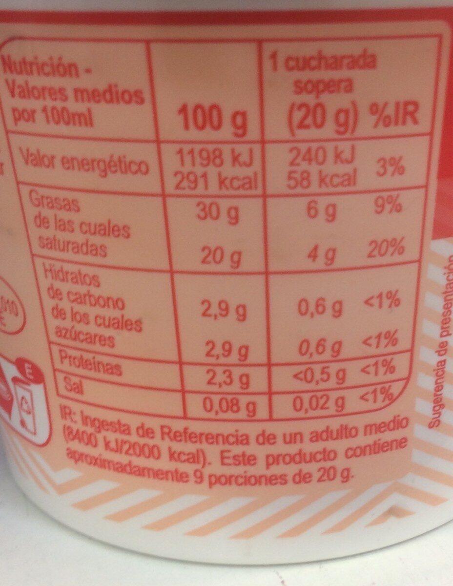 Nata ácida - Información nutricional - es