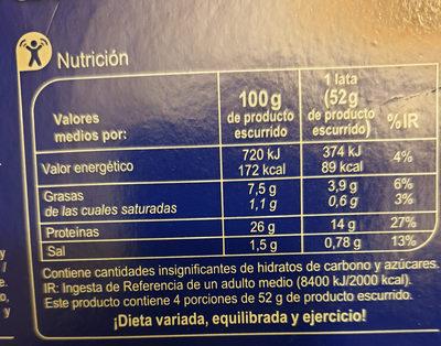 Carrefour Atún Claro - Información nutricional