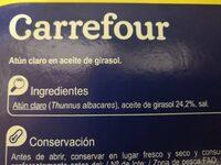 Atún claro en aceite vegetal - Ingredientes