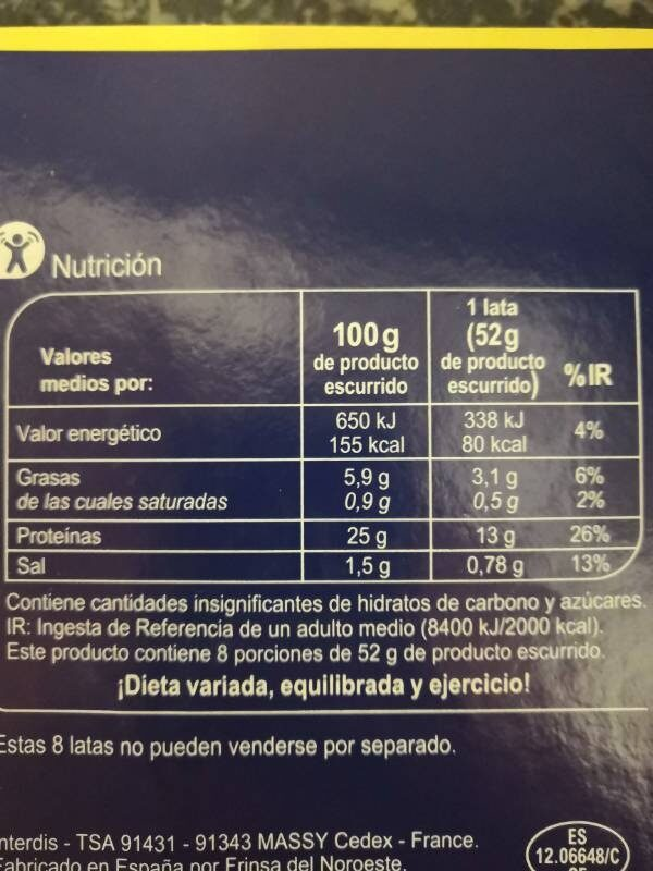 Atún claro en aceite vegetal - Información nutricional - es