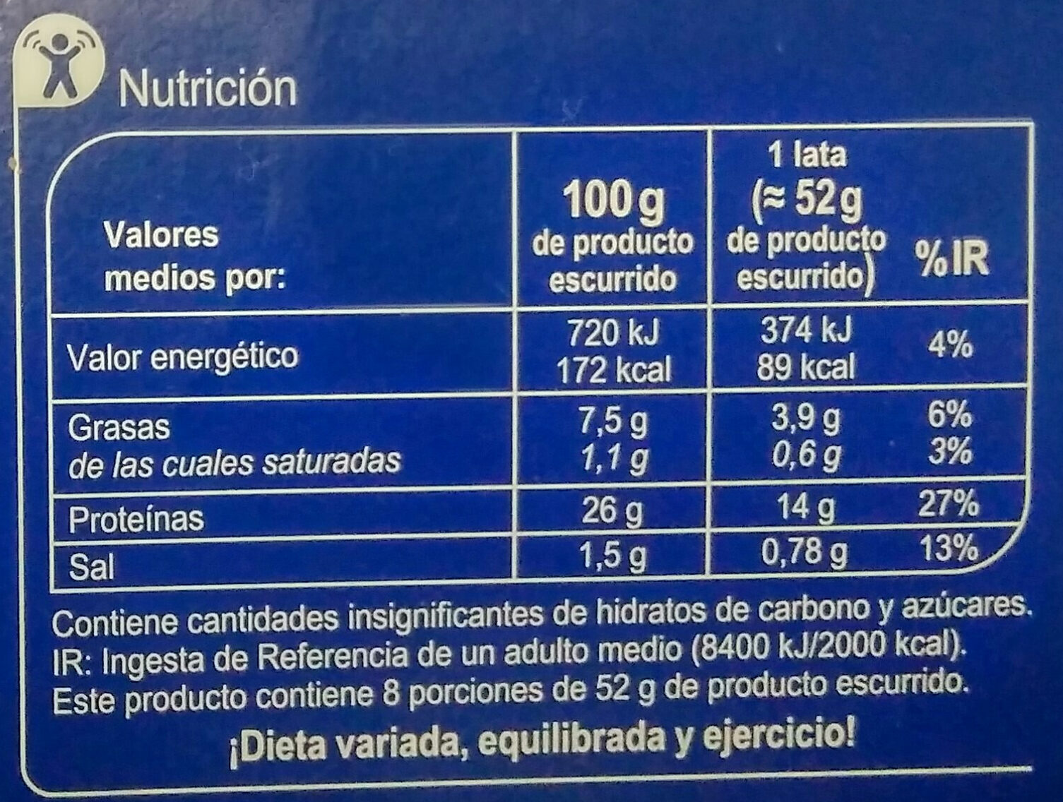 Atún claro en aceite de oliva - Información nutricional - es