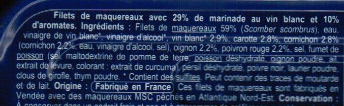 Filets de Maquereaux marinés au vin blanc et aromates - Ingrédients - fr