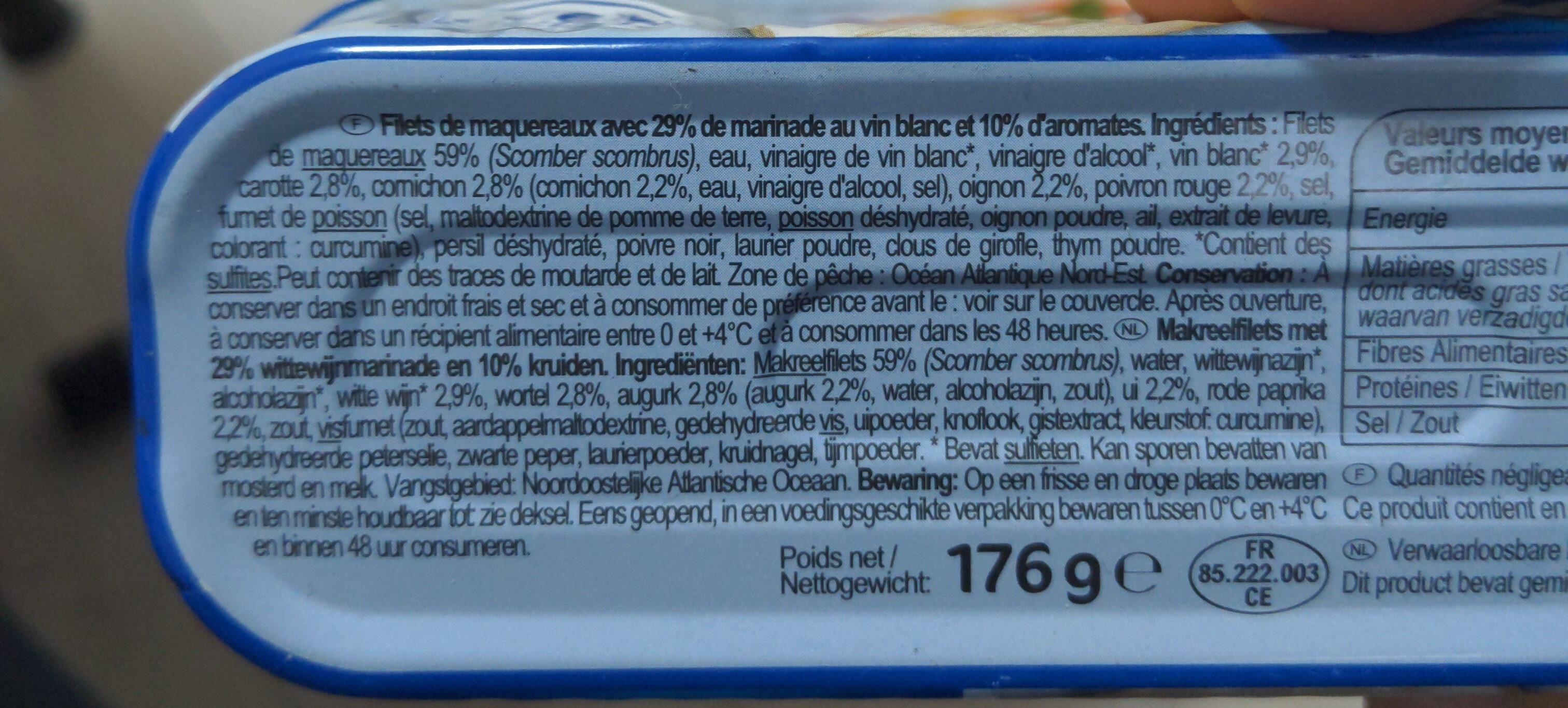 Filets de maquereaux marinés au vin blanc & aux aromates - Ingrédients - fr