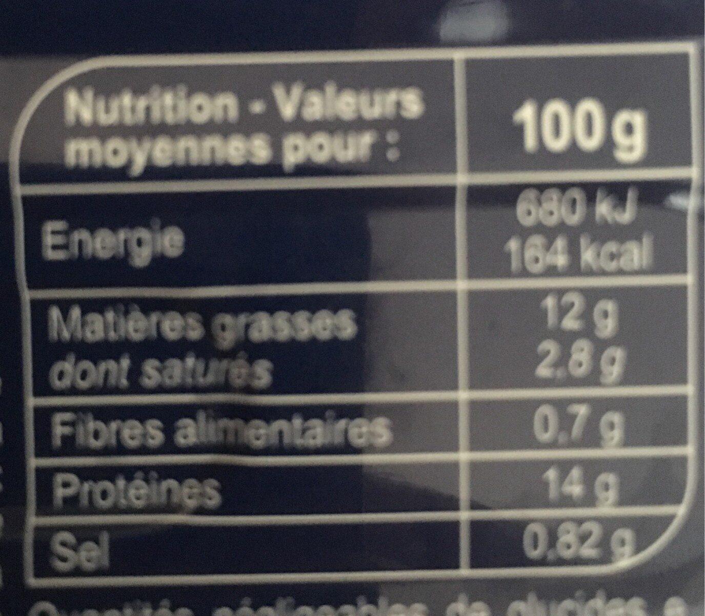 Filets de Maquereaux marinés au vin blanc et aromates - Informations nutritionnelles - fr
