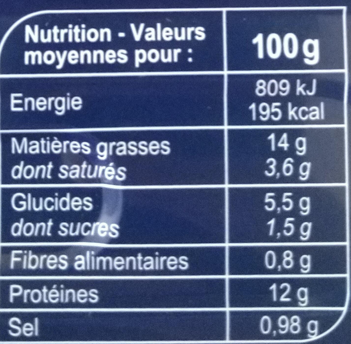 Filets de maquereaux à l'échalote / pêche durable - Nutrition facts