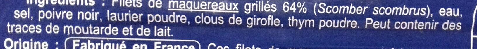 Filet de Maquereaux grillés - Ingredients