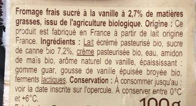 Fromage blanc a la vanille - Ingredients - fr