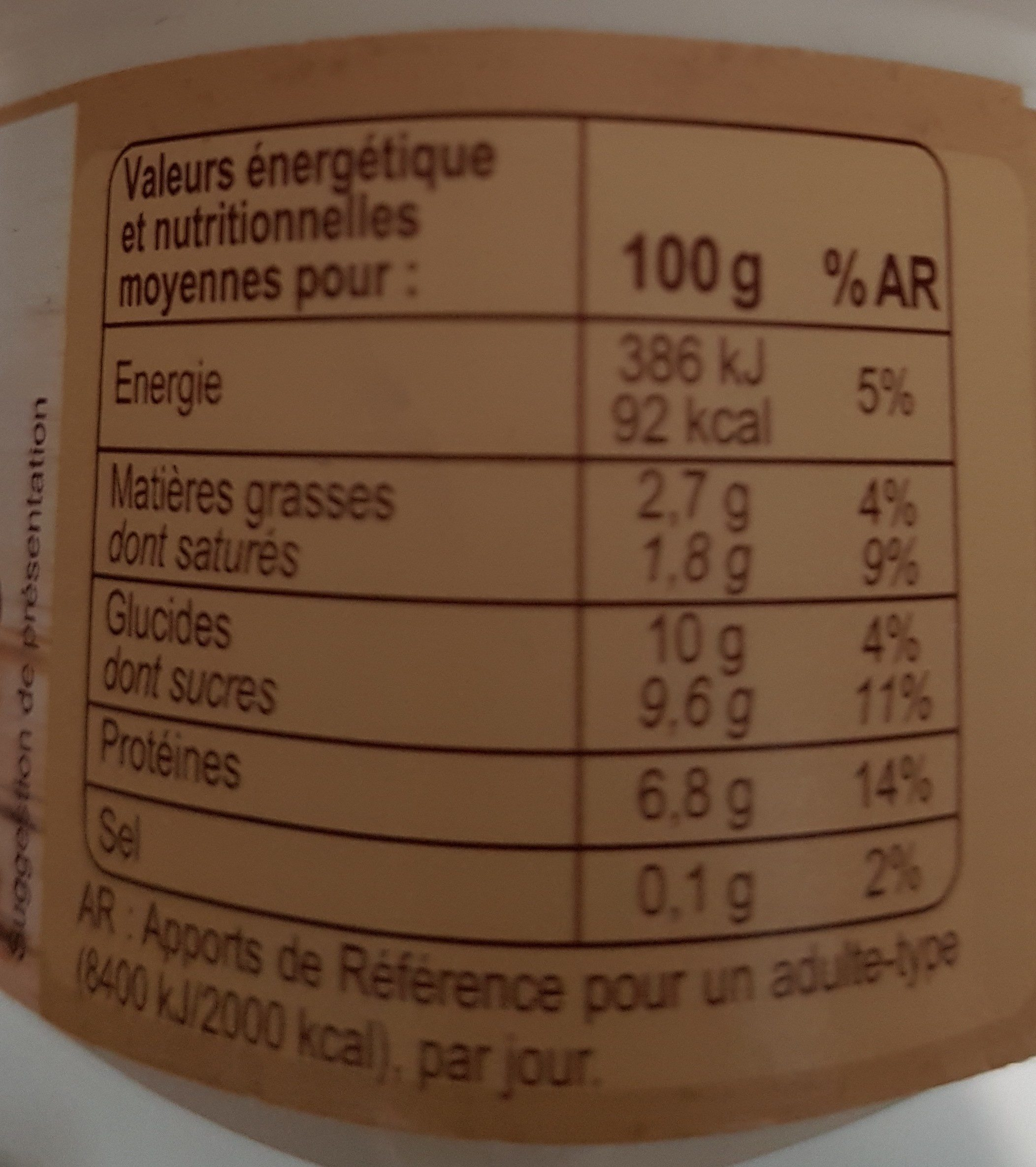 Fromage blanc a la vanille - Nutrition facts - fr