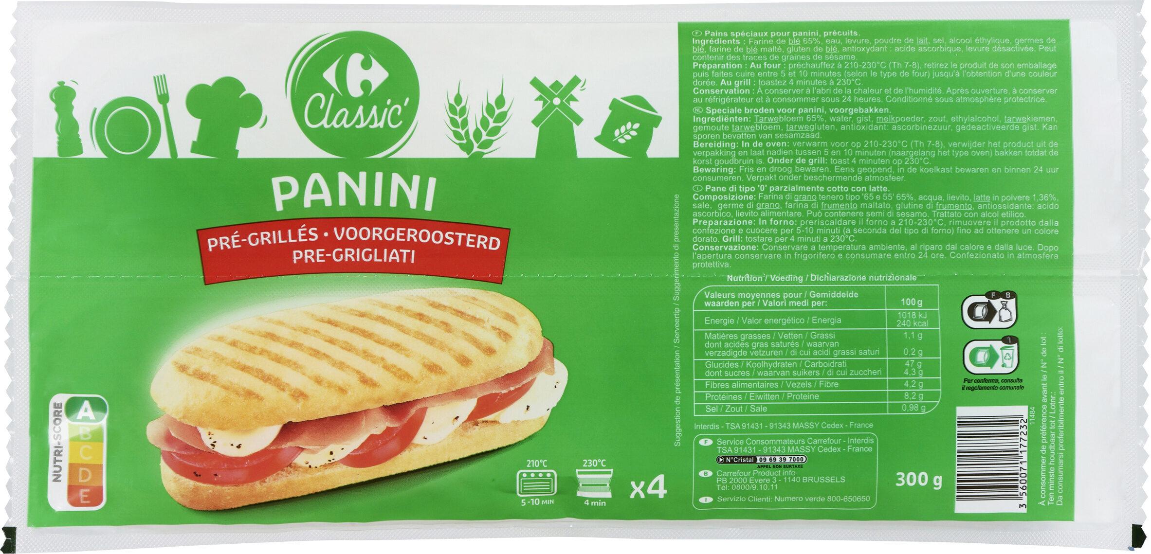 Pains panini pré grillés - Product - fr