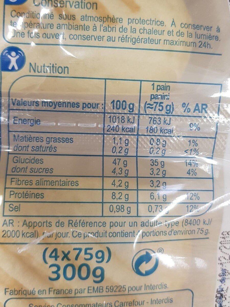 Pains panini pré grillés - Voedingswaarden - fr