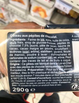 Le gateau aux pepites de chocolat - Ingrédients - fr