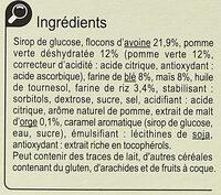 Barres céréalières Pomme Verte - Ingrédients - fr