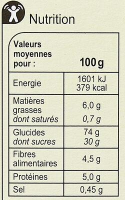 Barres céréalières Pomme Verte - Informations nutritionnelles - fr
