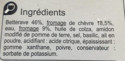 Betterave au fromage de chèvre - Ingredienti - fr