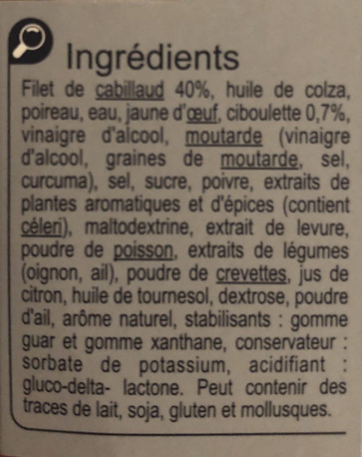 Cabillaud a la ciboulette - Ingrediënten - fr