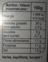 Cabillaud a la ciboulette - Voedingswaarden - fr