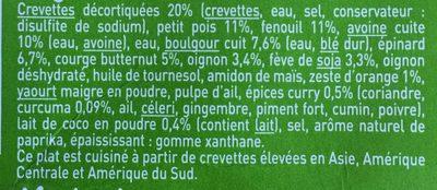 Crevettes Légumes et duo Avoine Boulgour - Ingrédients - fr