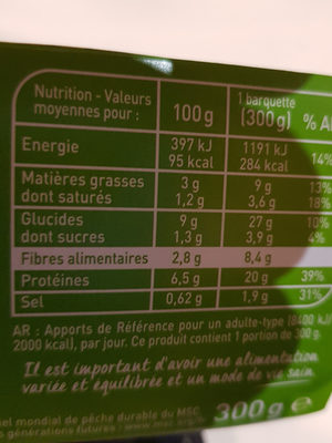 Cabillaud sauce citron duo avoine épeautre et légumes - Nutrition facts - fr