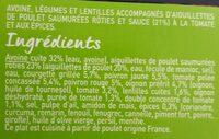 Aiguilettes de poulet/avoine legumes - Ingrédients - fr