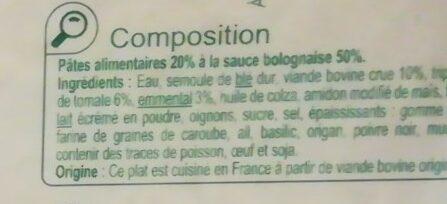 Lasagnes bolognaise - Ingredients - fr