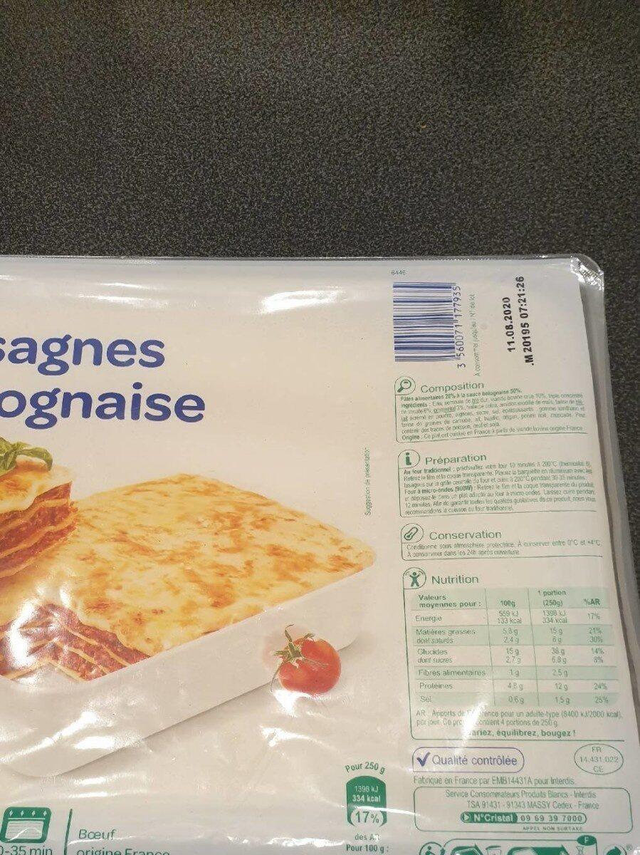 Lasagnes bolognaise - Nutrition facts - fr