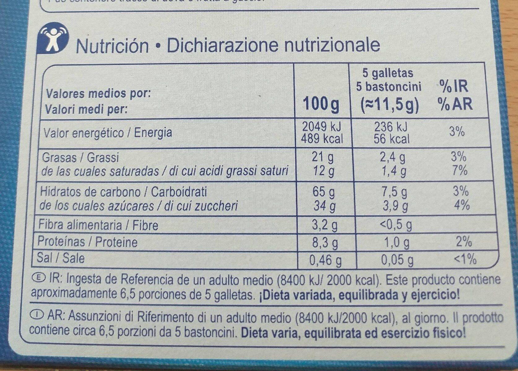 Stick chocolate con leche - Informations nutritionnelles - es