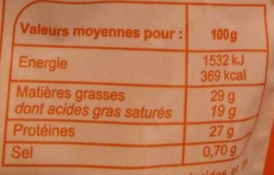Emmental râpé fondant - Informations nutritionnelles - fr