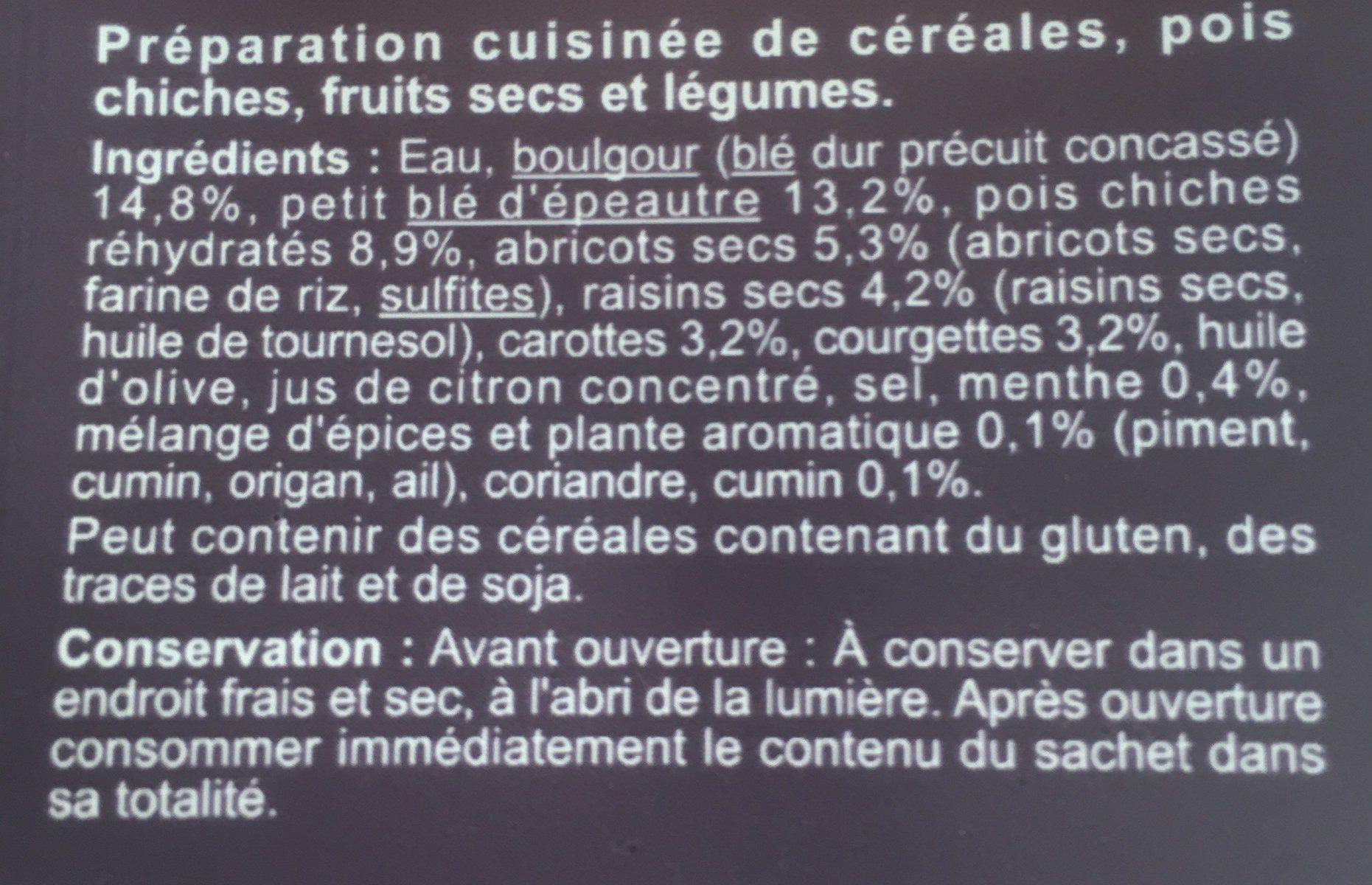 Mélange de céréales et fruits secs à la menthe et au cumin - Ingrédients - fr