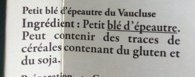 Petit Épeautre du Vaucluse - Ingredienti - fr