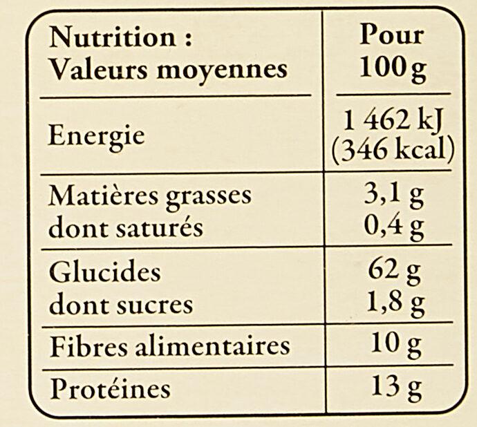 Petit Épeautre du Vaucluse - Valori nutrizionali - fr
