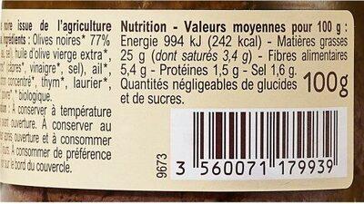 Tapenade noire bio - Informations nutritionnelles - fr