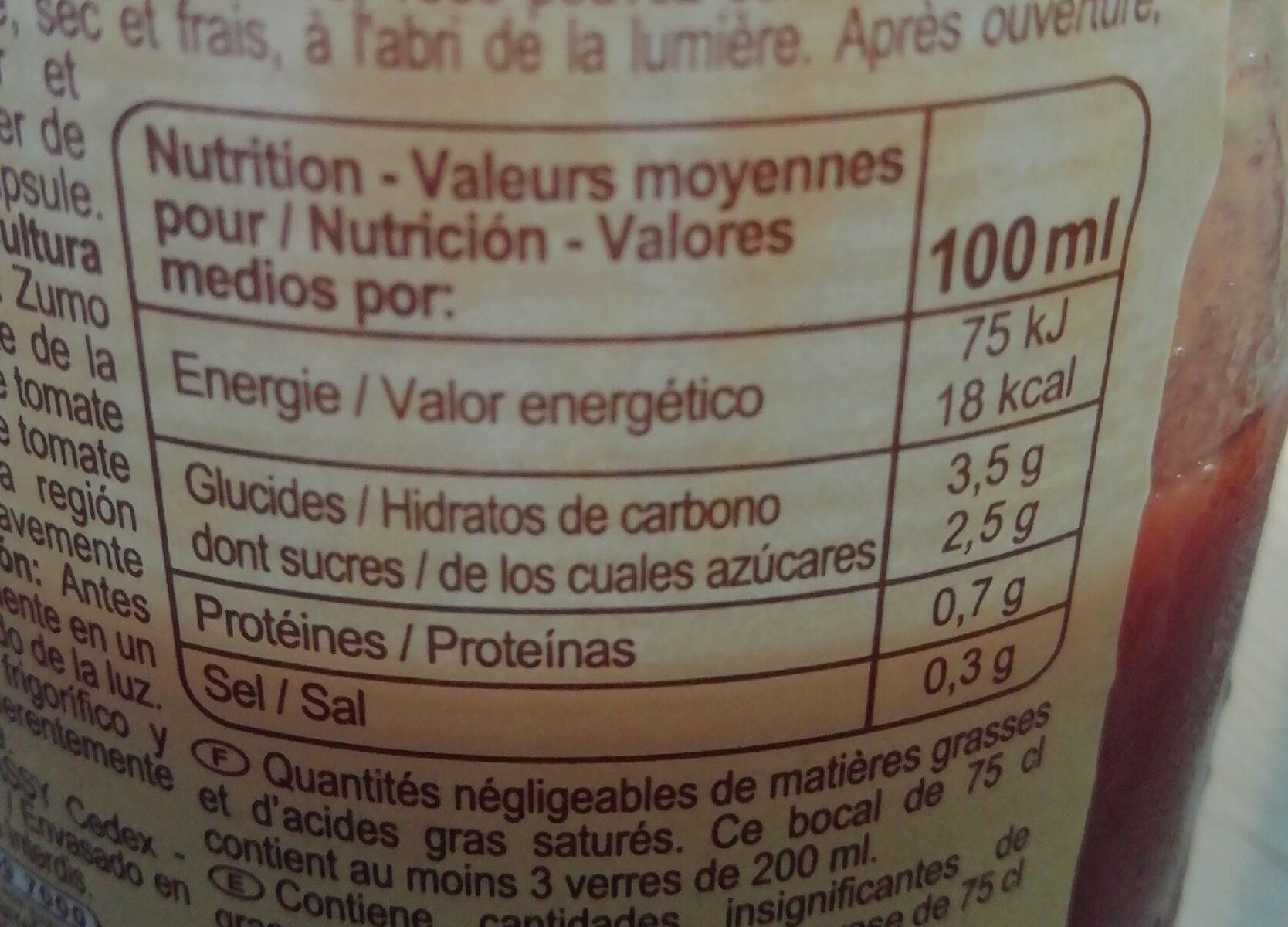 Jus de tomate bio - Valori nutrizionali - fr