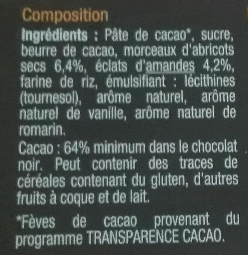NOIR Saveur Abricot, Amandes & Romarin - Ingrédients - fr