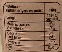 Crème fraiche épaisse de Normandie - Informations nutritionnelles - fr