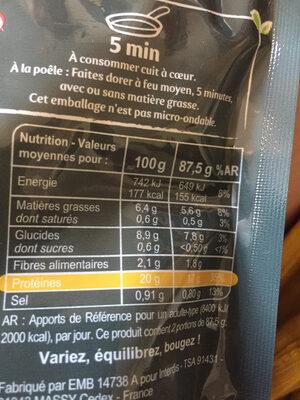 Emincés blé, pois au curry - Información nutricional - fr